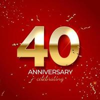 Anniversary celebration decoration. Golden number 40 with confetti, glitters and streamer ribbons on red background. Vector illustration