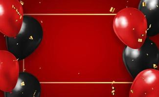 Realistic 3d red background with balloons and confetti, holiday, birthday, promotion card, poster. Vector Illustration