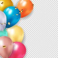 Group of 3d Colour Glossy Helium Balloons Isolated on Transparent Background. Vector Illustration