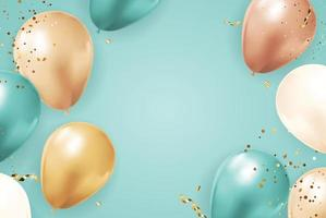 Abstract Party Holiday Background with Balloons, ribbon and confetti. Vector Illustration EPS10