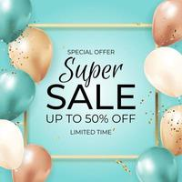 Super Sale Limited Time Background with Balloons, golden frame, ribbon and confetti. Vector Illustration