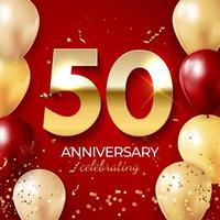 Anniversary celebration decoration. Golden number 50 with confetti, balloons, glitters and streamer ribbons on red background. Vector illustration