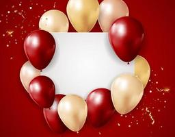 Party Glossy Holiday Background with Balloons and confetti and white empty card. Vector Illustration