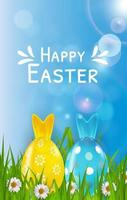 Easter poster template with 3d realistic eggs, grass and spring background. Template for advertising, poster, flyer, greeting card. Vector Illustration