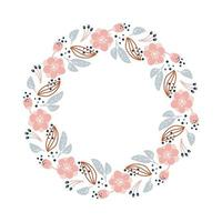 Summer wreath with flowers in scandinavian style. Spring herb flat abstract vector garden frame for woman day romantic holiday, wedding card. Element floral isolated illustration
