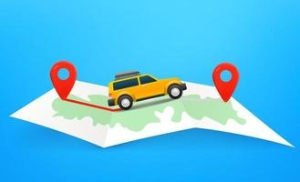 Travel by car vector concept with map