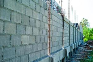 Perspective structure of reinforcement steel in the cement brick wall photo