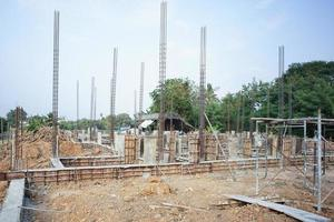 Landscape of house under construction site with reinforcement steelwork