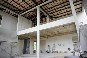 Perspective interior modern design of house under construction photo