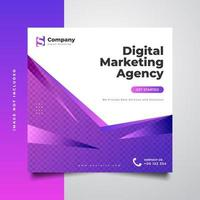 Digital marketing agency social media post template in colorful and dynamic concept vector