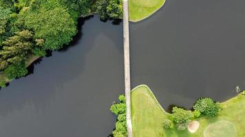 Aerial view of the city forest, lakes and bridges connecting to the park photo