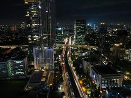 Jakarta, Indonesia 2021- Spectacular nighttime skyline of a big modern city at night