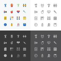 Health and Fitness silhouette icons flat line design vector set.