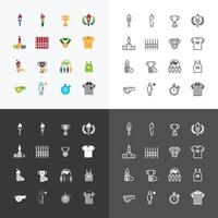 sport icons color flat line design vector Set.