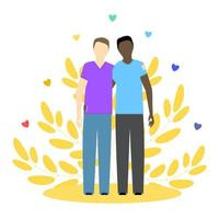 Two gay guys, black and white. LGBT couple. Gay relationship. Concept vector illustration.