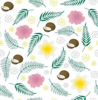 Seamless vector tropical pattern with coconut, palm leaves and flowers on white background. Perfect for wallpaper, background, textile or wrapping paper.