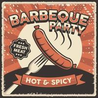 Retro Vintage Sausage Barbeque Poster Sign vector