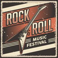 Retro Vintage Rock and Roll Music Festival Poster Sign vector