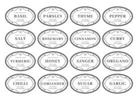 Seasoning kitchen pantry label sticker set organizer black white vintage style vector