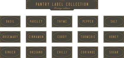 Kitchen Seasoning spice jar pantry label collection set in retro vintage art deco design template style vector