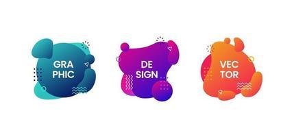 Conjunto de elementos gráficos modernos abstractos para telón de fondo, banner, formas de salpicaduras de líquido degradado colorido con lugar para texto, ilustración vectorial en el estilo de diseño de Memphis vector