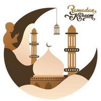 hermosa ilustración vectorial de ramadan kareem saludo banner cuadrado con diseño plano de color marrón vector