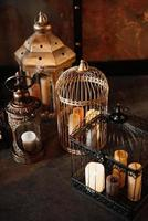 Wedding decor with birdcage, street lights photo