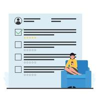 Woman sits and holds phone, filling out survey. Flat technology vector illustration.
