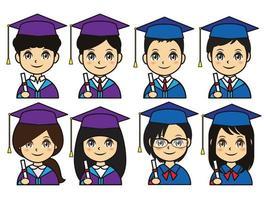 Graduation profile icon set vector