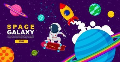 Space galaxy astronaut on skateboard design. vector illustration