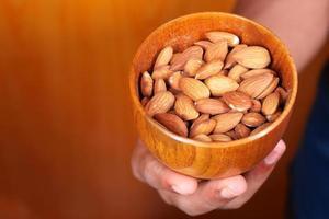 Bowl full of almonds photo