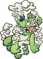 oso de peluche verde flotando en humo blanco vector