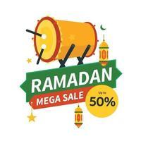 Ramadan mega, big, super sale banner with islamic drum illustration vector