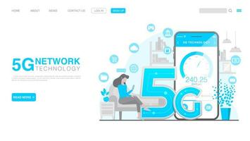 5G Network Wireless Technology Concept. Landing Page in Flat Style. Vector EPS 10
