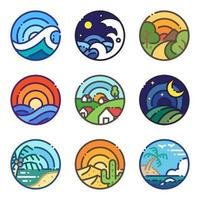 Landscape travel scenery view lineal icon set vector