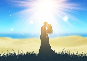 Silhouette of a bride and groom against a defocussed beach landscape vector