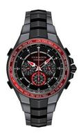 Realistic red black steel watch clock chronograph design fashion for men luxury elegance on white background vector illustration.
