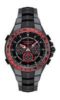 reloj de acero negro rojo realista reloj cronógrafo diseño moda para hombres elegancia de lujo sobre fondo blanco ilustración vectorial. vector