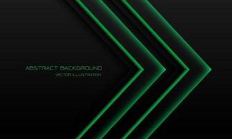 Abstract green light neon arrow direction on black with blank space design modern futuristic technology background vector illustration.
