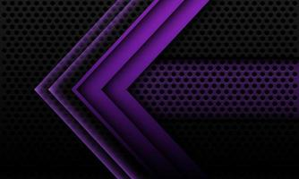 Abstract purple metallic arrow shadow geometric direction on black circle mesh with banner blank space design modern futuristic technology background vector illustration.