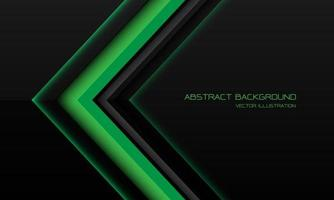 Dirección de flecha metálica verde abstracta en negro con diseño de espacio en blanco ilustración de vector de fondo de tecnología futurista moderna.