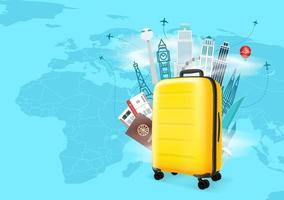 Travel destinations vector concept with yellow bag