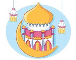 Mosque design for Eid mubarak islamic greeting card vector