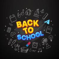 Back to school vector banner. Illustration with doodle elements and logo