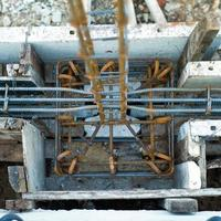 Selective focus of reinforcement steel structure for strengthen the concrete foundation photo