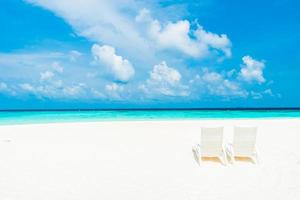 Tropical beach on the Maldives island photo