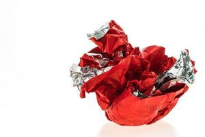 Red crumbled paper