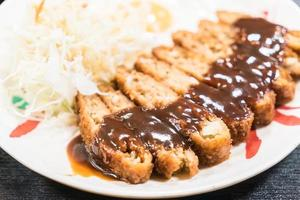 Fried pork with sweet sauce photo