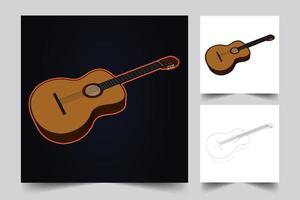 ilustración de guitarra clásica vector
