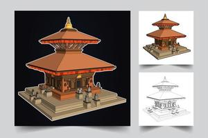 Chinese pagoda illustration vector